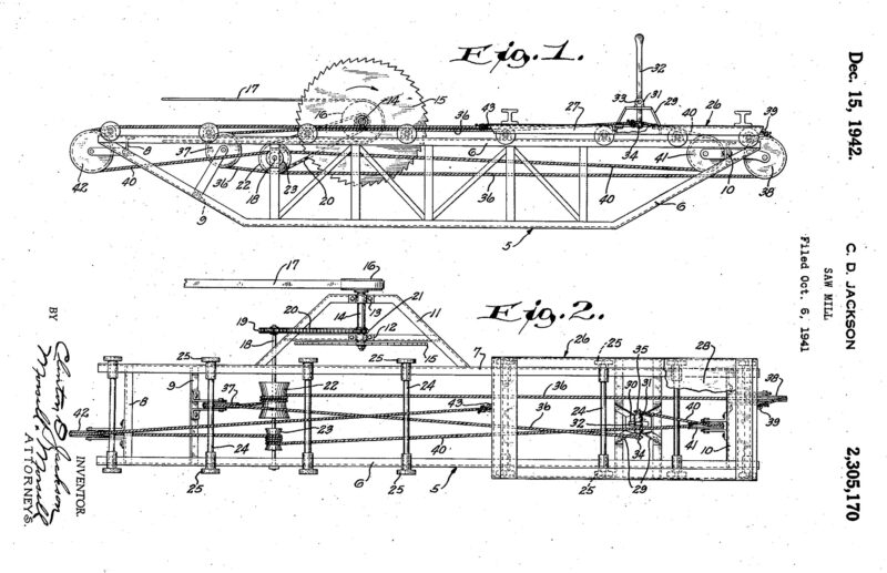 1941 Illustration of a patent for a Sawmill