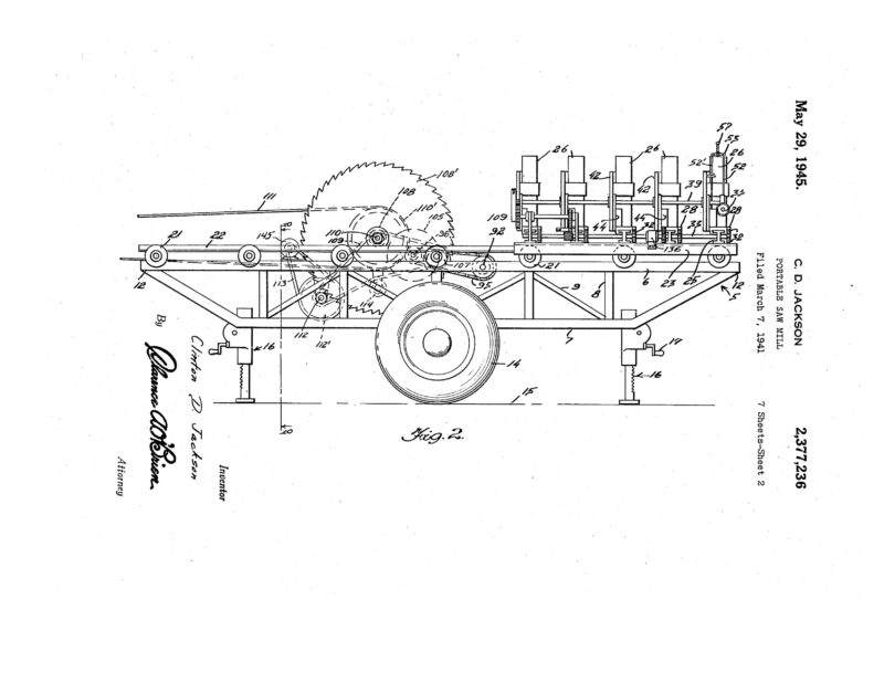 1941 Illustration of a patent for a Portable Sawmill