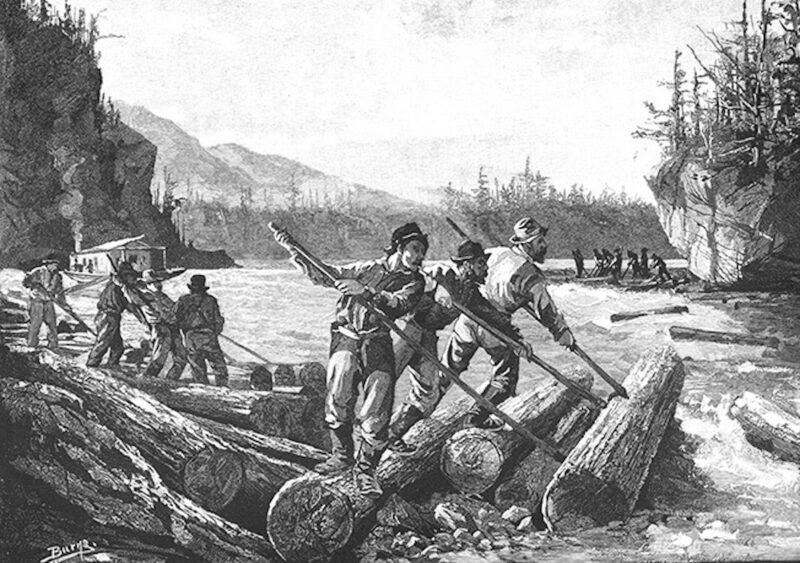 Art rendering of early log drivers.