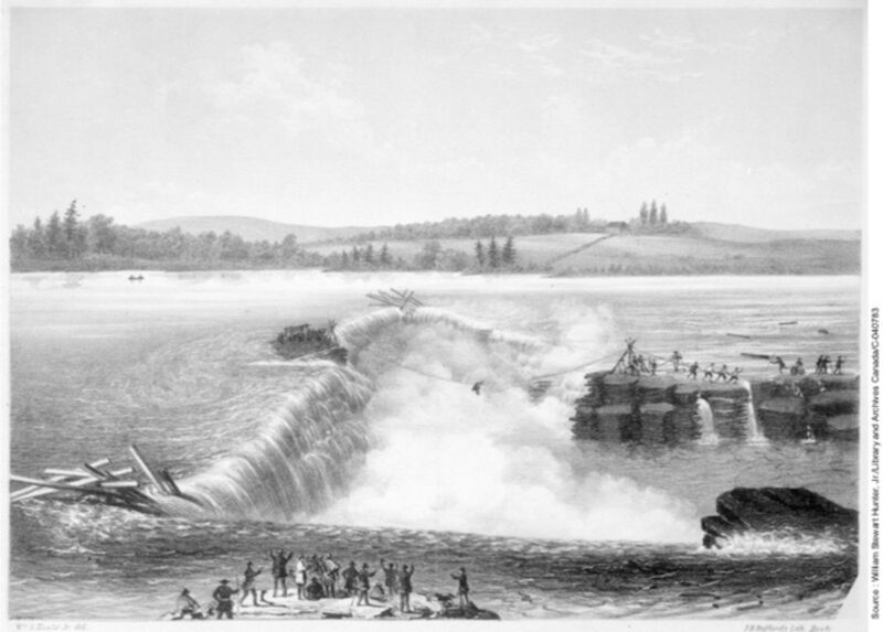 1855 Rescue of men from a log driver's raft, Chaudiere Falls.