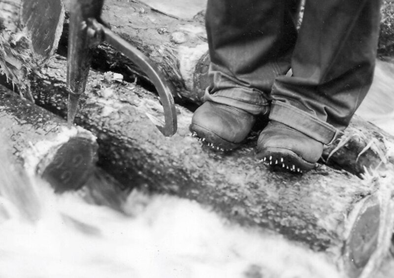These calked boots are an essential security measure when working in log-driving operations.