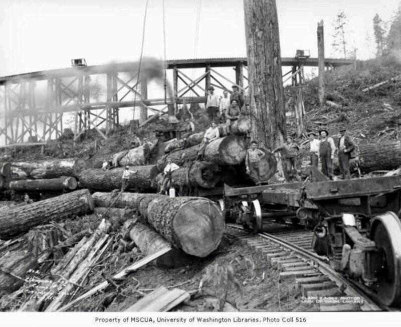1930 Crew at loading site below railroad trestle, camp 3, Clemons Logging Company, near Melbourne.