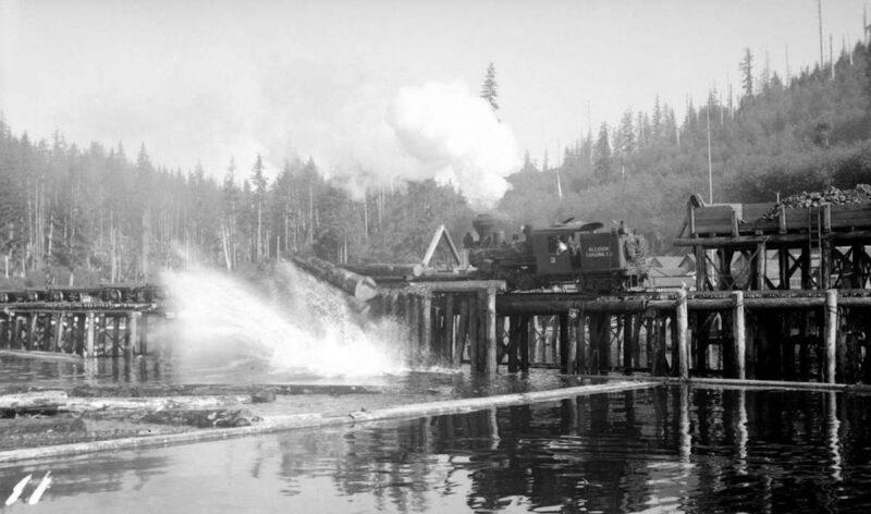 1938 Cumshewa Inlet, BC. Log dump; A.P. Allison Co.