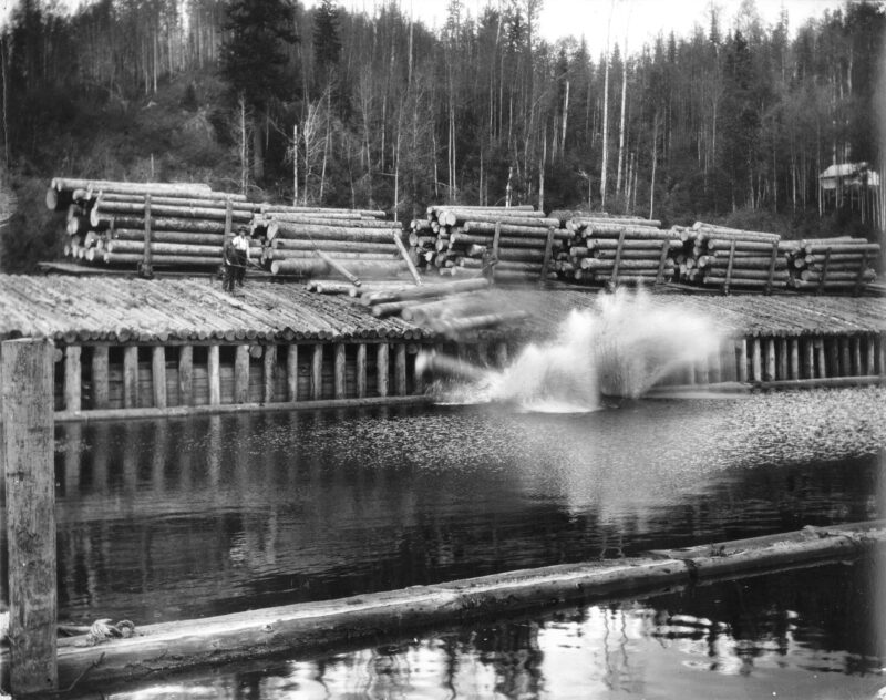 1930s Eagle Lake Sawmills, Giscome, B.C. Dumping the loads at mill.