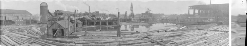 1924 View of King and Jardine Sawmill at First and Ontario, False Creek.