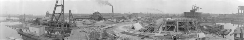 1924 View of King and Jardine Sawmill at First and Ontario, False Creek, BC.