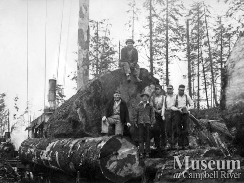 1939 Bloedel, Stewart and Welch Camp 4, The railroad crew at Trout Lake, BC.