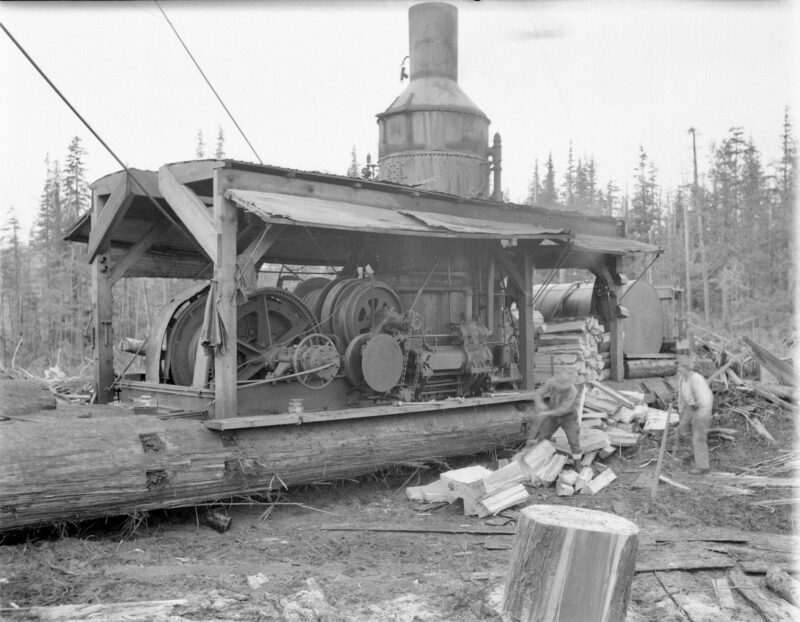 1945 Pacific Mills' donkey engine on the Queen Charlotte Islands.