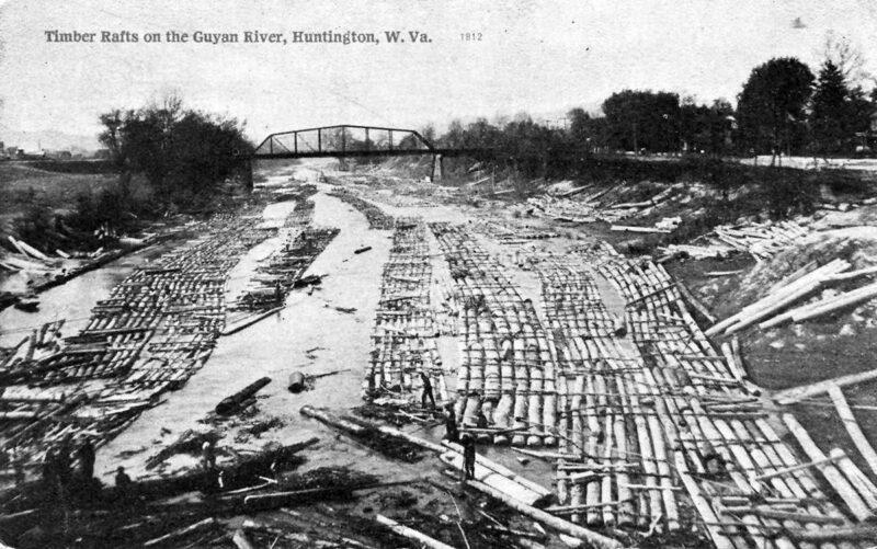 Timber rafts on Guyan River, Huntington, WV