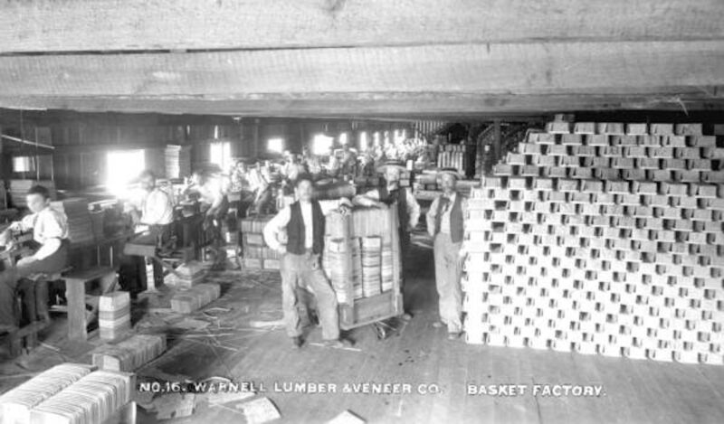 1880 Interior of Warnell Lumber & Veneer Company's basket factory.
