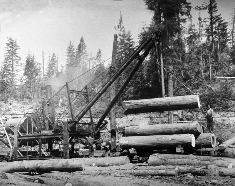 1907 Hoisting log with jammer.