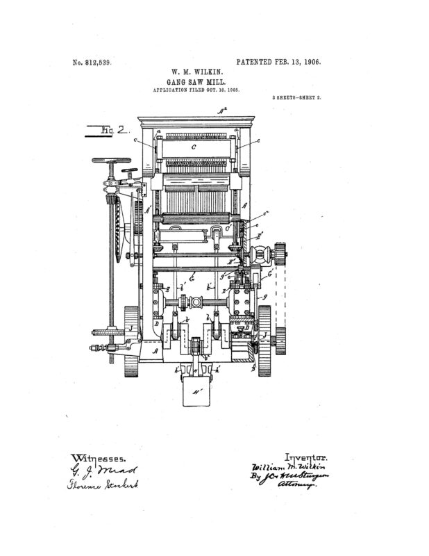 1905 Illustration patent of a Gang Saw Mill