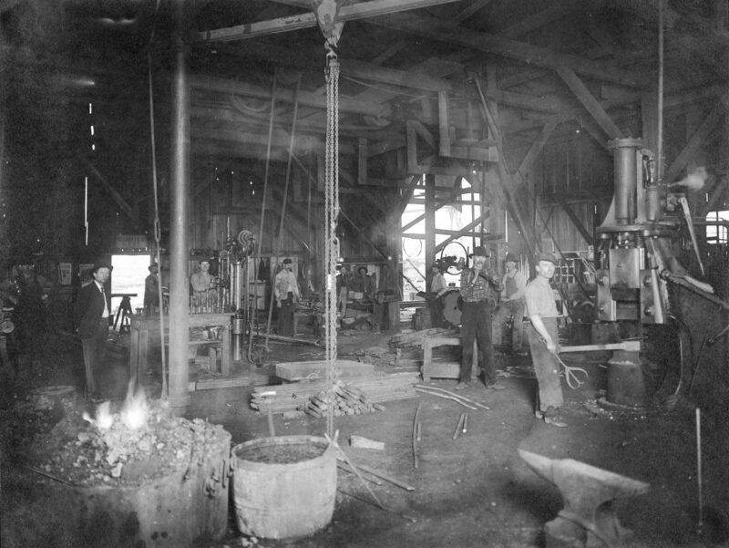 1907 Southern Pine Lumber Company workshop interior.
