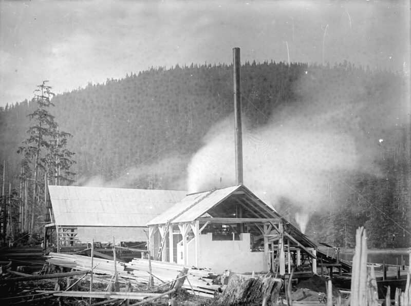 1900s Buildings and surrounding lumber, Fraser Valley Sawmill