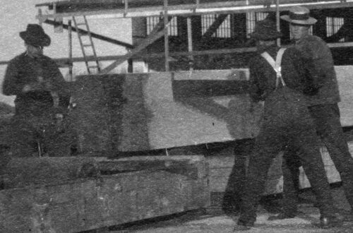 """1901 - A """"B.C. Toothpick"""" cut at Hastings Sawmill for the visit of The Duke and Duchess of Cornwall and York."""