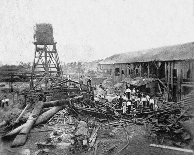Early 20th century, aftermath of an explosion at a sawmill - Carrabelle, Florida.